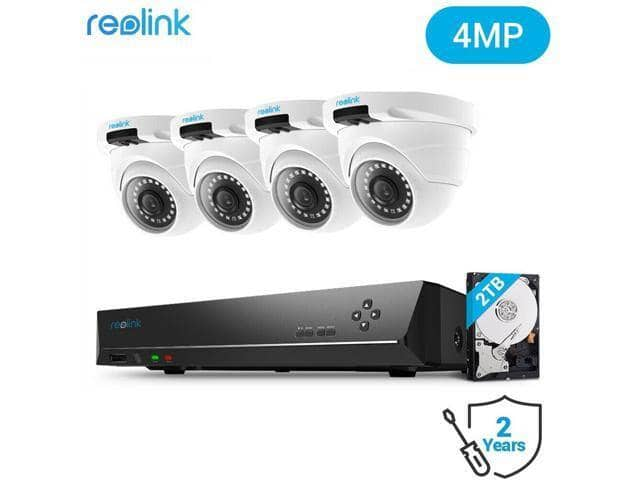 Reolink 8CH 4MP PoE Home Security Camera System - 4x 1440P IP Cameras and 2TB HDD NVR for $279.99 + FS