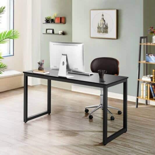 "SmileMart 55"" Metal Framed Desk with 2 Grommets & 1 Hook for Home Office, Black $66.99 + Free Shipping"