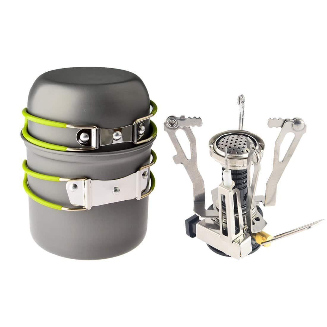 CAMP STOVE + COOKWARE SET 2 pcs piezo ignition canister $6 OFF COUPON camping outdoors FREE SHIPPING (prime or fsss) @ AMAZON $16.99 AC