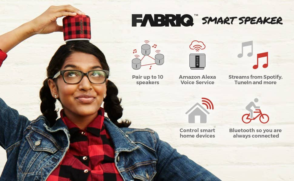 FABRIQ Portable Wi-Fi and Bluetooth Smart Speaker With Amazon Alexa -  $37.49