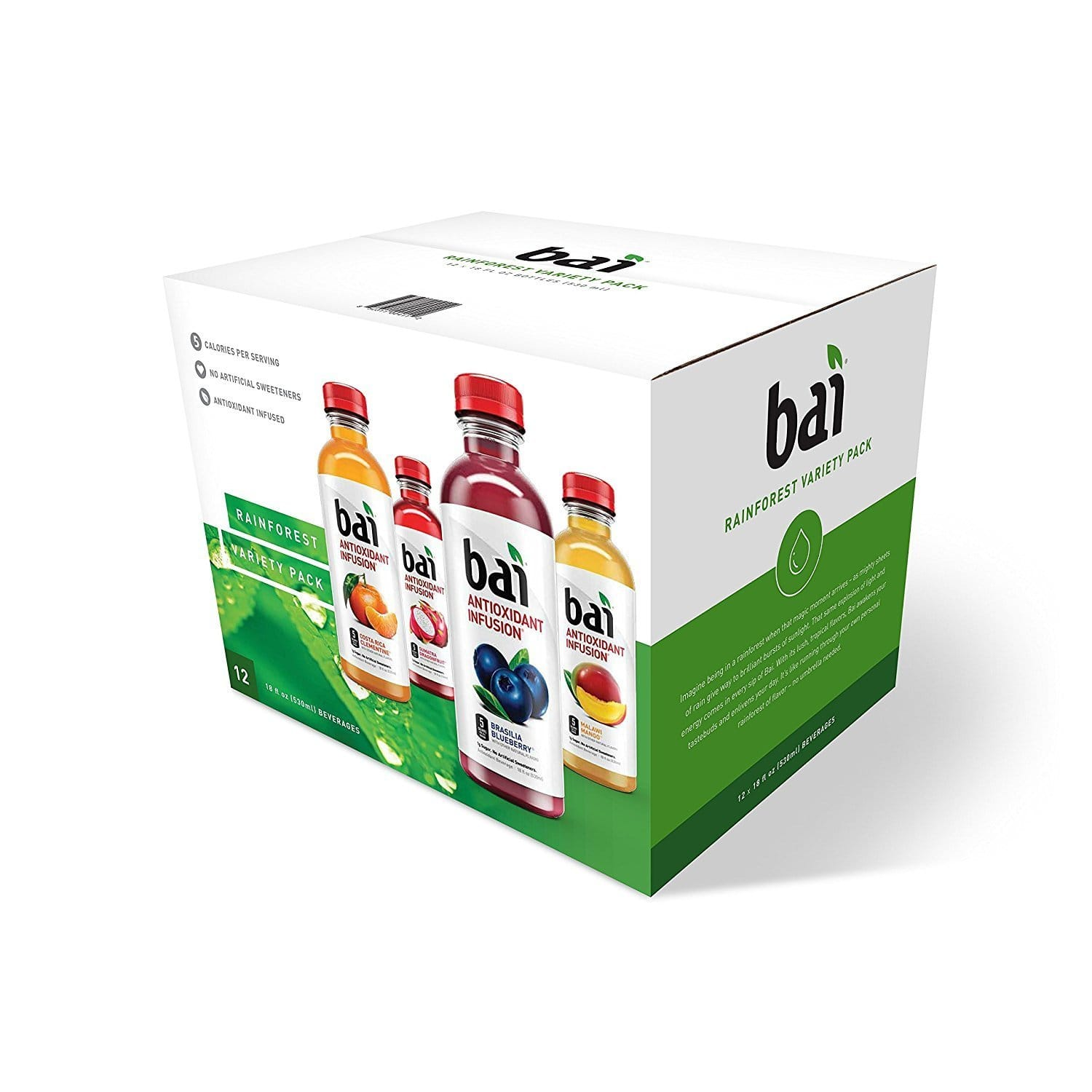 Bai Flavored Water, Rainforest Variety Pack, 18 Fluid Ounce Bottles, 12 count $11.20 after coupon at Amazon
