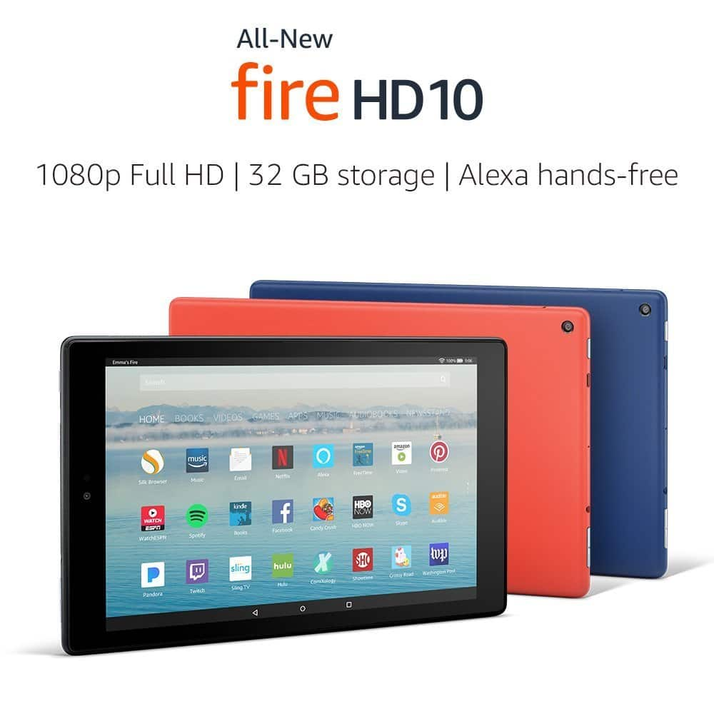 """All-New Fire HD 10 Tablet with Alexa Hands-Free, 10.1"""" 1080p Full HD Display, 32 GB, Black - with Special Offers $149.99"""