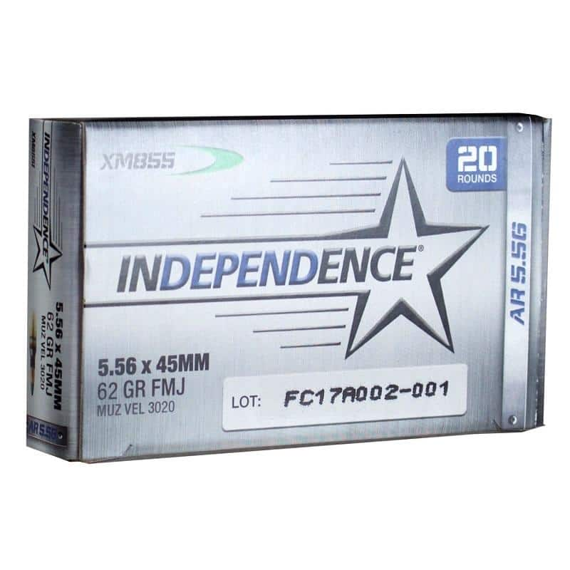 """Federal Independence XM855 5.56mm 62gr FMJ 1000 Rnds - $299.49 ($249 after $50 MIR) + Free Shipping after code """"FS170170"""""""