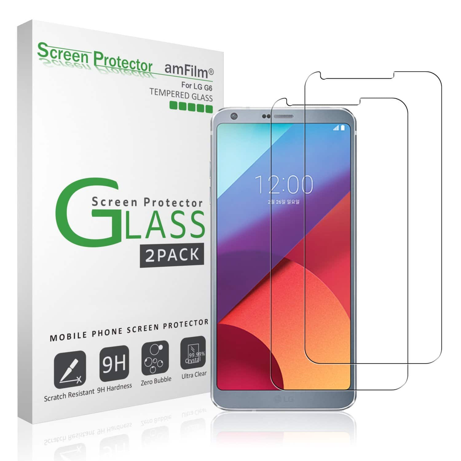 LG G6 Glass Screen Protector 2-Pack - $0.96 + Free Shipping at Amazon