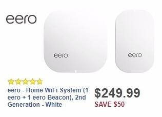 Best Buy Weekly Ad: eero - Home WiFi System (1 eero + 1 eero Beacon), 2nd Generation - White for $249.99