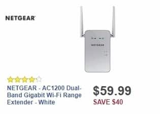 Best Buy Weekly Ad: NETGEAR - AC1200 Dual-Band Gigabit Wi-Fi Range Extender - White for $59.99