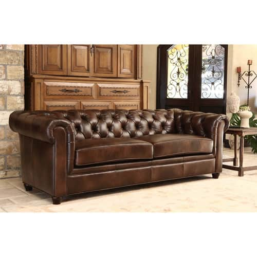 Abbyson Tuscan Top Grain Leather Chesterfield Sofa (Brown) - $799.99 + Free Shipping at Overstock