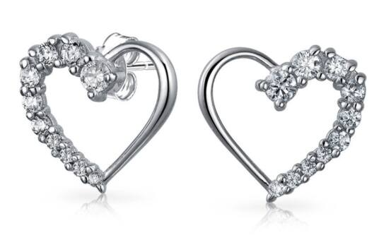 Sterling Silver & CZ Heart Stud Earrings - $15.95 + Free Shipping at BlingJewelry