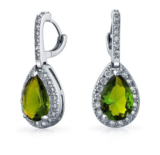 Peridot-colored CZ Drop Earrings - $15.95 + Free Shipping at BlingJewelry