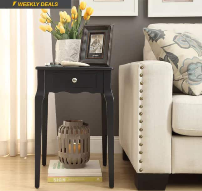 Accent Side Table (Black or Green, Wood) - $54 + Free Shipping from Overstock & More $53.99