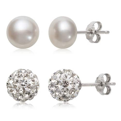 e03cc9d87 2 Pair Cultured Pearl & Crystal Sterling Silver Earring Set - $10 at  JCPenney + Free Ship to Store on $50+