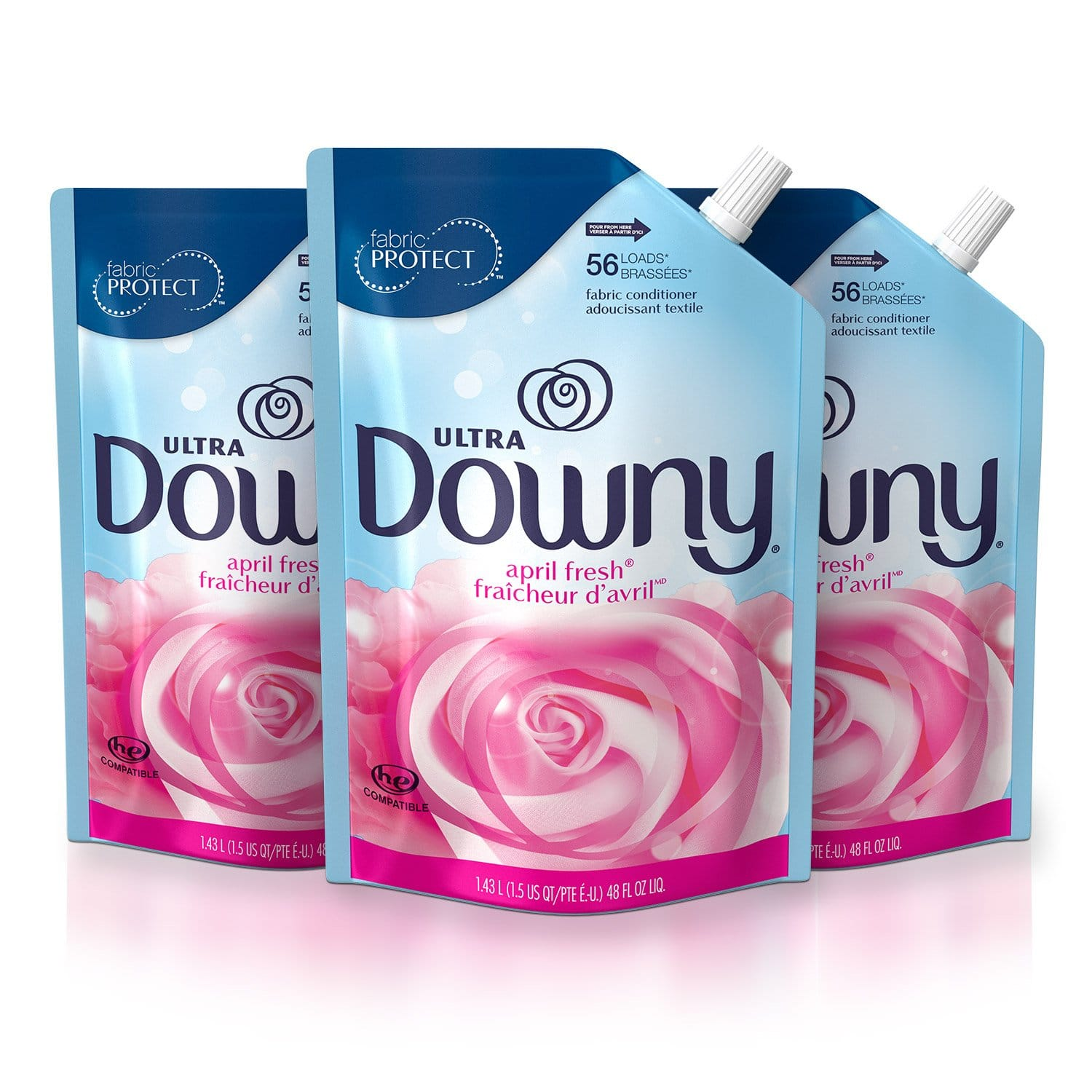 $11.29 Downy Ultra April Fresh Liquid Fabric Conditioner Smart Pouch, Fabric Softener - 48 Oz. Pouches, 3 Pack @ Amazon