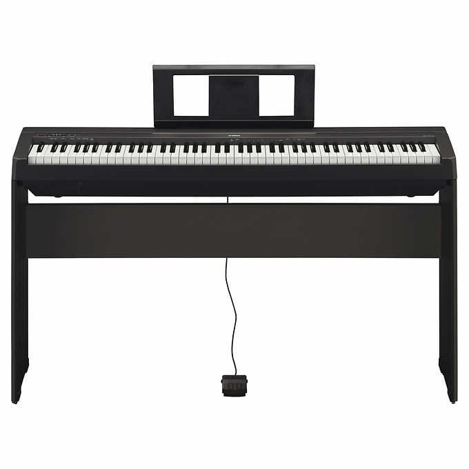 yamaha p 45 p45 88 key weighted action digital piano home bundle for 400 costco. Black Bedroom Furniture Sets. Home Design Ideas