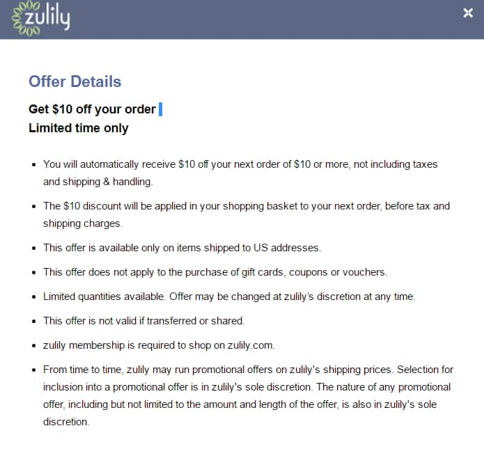 Zulily 10 Off Your Purchase Of Or More And Free Shipping With Visa Checkout