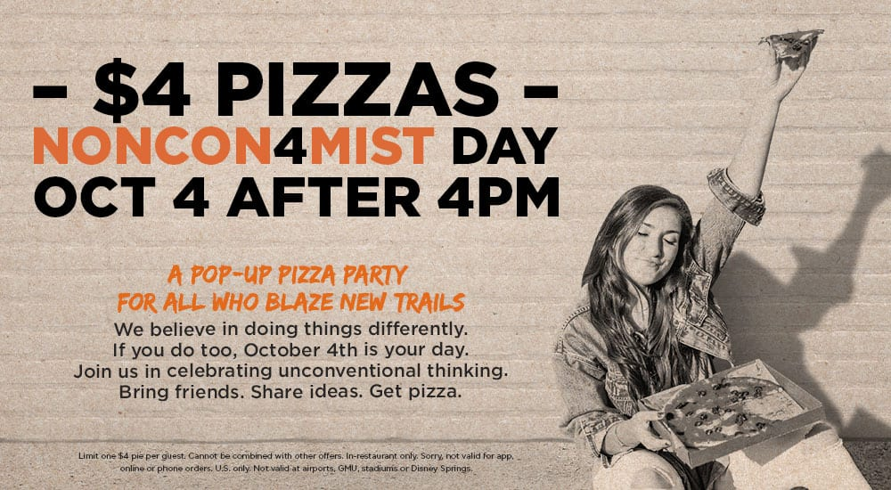 Blaze pizza for $4 on 10/04/2017 after 4 PM