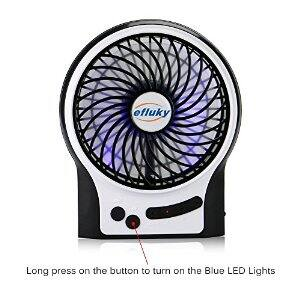 Efluky Mini USB 3 Speeds Rechargeable Portable Table Fan $9.75 @ Amazon