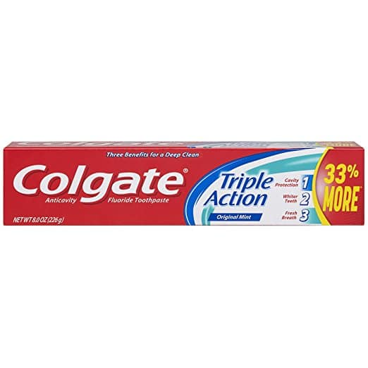 Amazon.com - Colgate Triple Action Toothpaste, Mint - 8 ounce (Pack of 6) - As low as $5.94 with Free Shipping w/S&S + Other Varieties