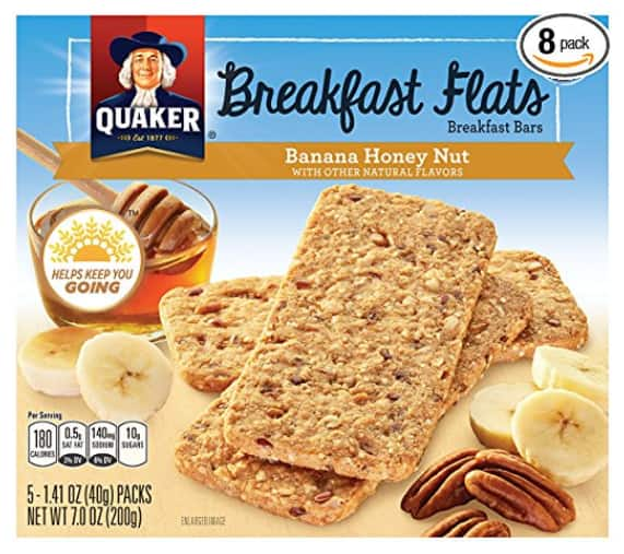 Amazon.com - 8x Quaker Breakfast Flats, Banana Honey Nut, Breakfast Bars, 5 count-7.0 oz - As low as $10.21 with Free Shipping w/S&S