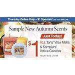Oct 1st Only - Yankee Candle $1 for ALL Melts & Votives + $5.99 Shipping