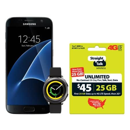Straight Talk Samsung Galaxy S7 + Samsung Gear Sport Watch +