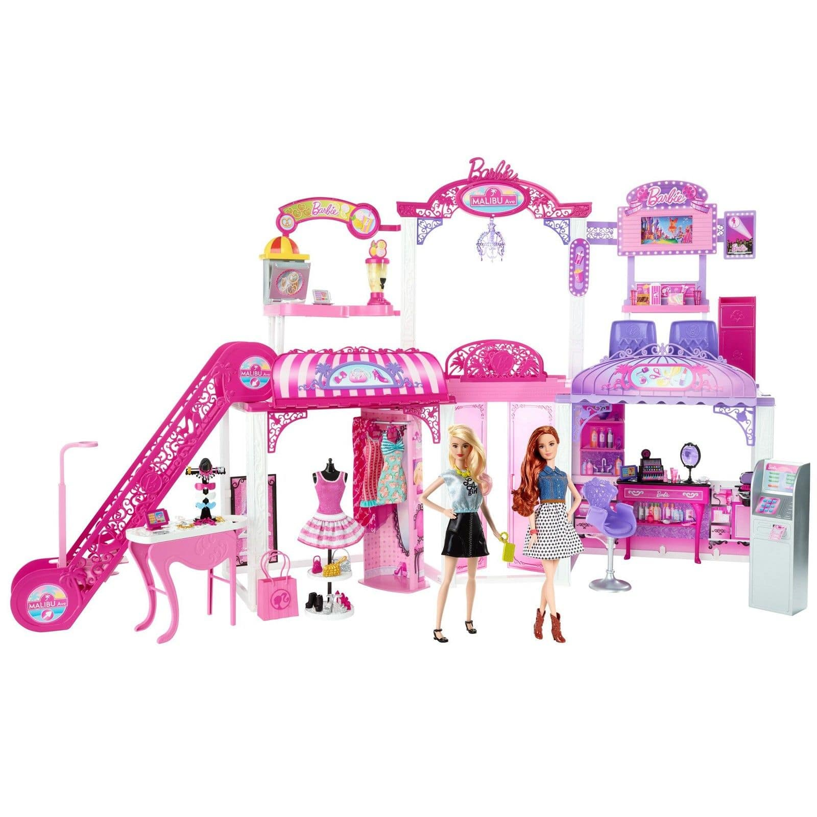 Barbie 2 Story Malibu Ave Mall Playset with 2 Extra Dolls $34.99 Free Shipping Mattel Direct on eBay
