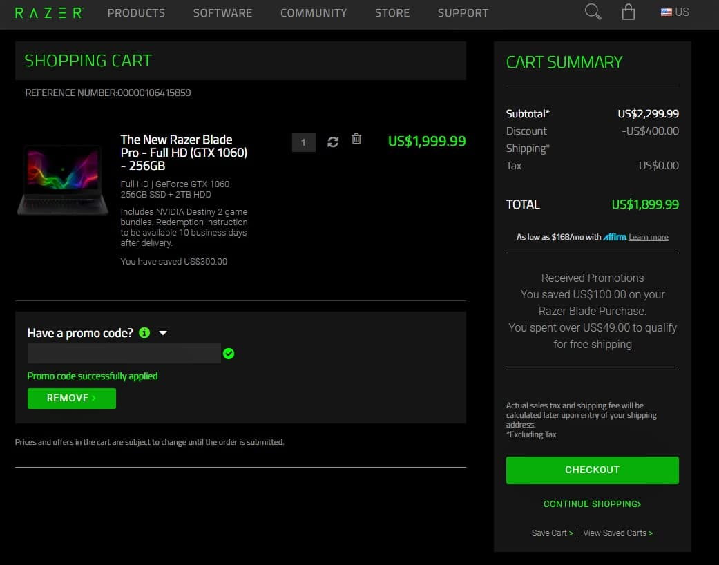 The New Razer Blade Pro - Full HD | GeForce GTX 1060 256GB SSD + 2TB HDD with EDU $1899.99