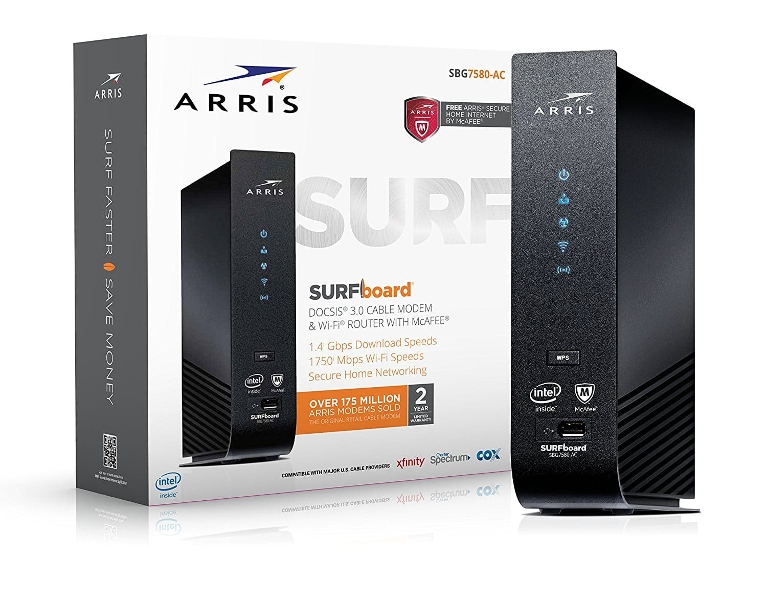 ARRIS SURFboard SBG7400AC2 24x8 DOCSIS 3.0 Cable Modem / AC2350 Wi-Fi Router / McAfee Whole Home Internet Protection- Black - $168.82 ($30 Coupon)