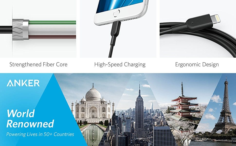 Anker PowerLine II Lightning Cable (10ft), Probably The World's Most Durable Cable, MFi Certified $12.74