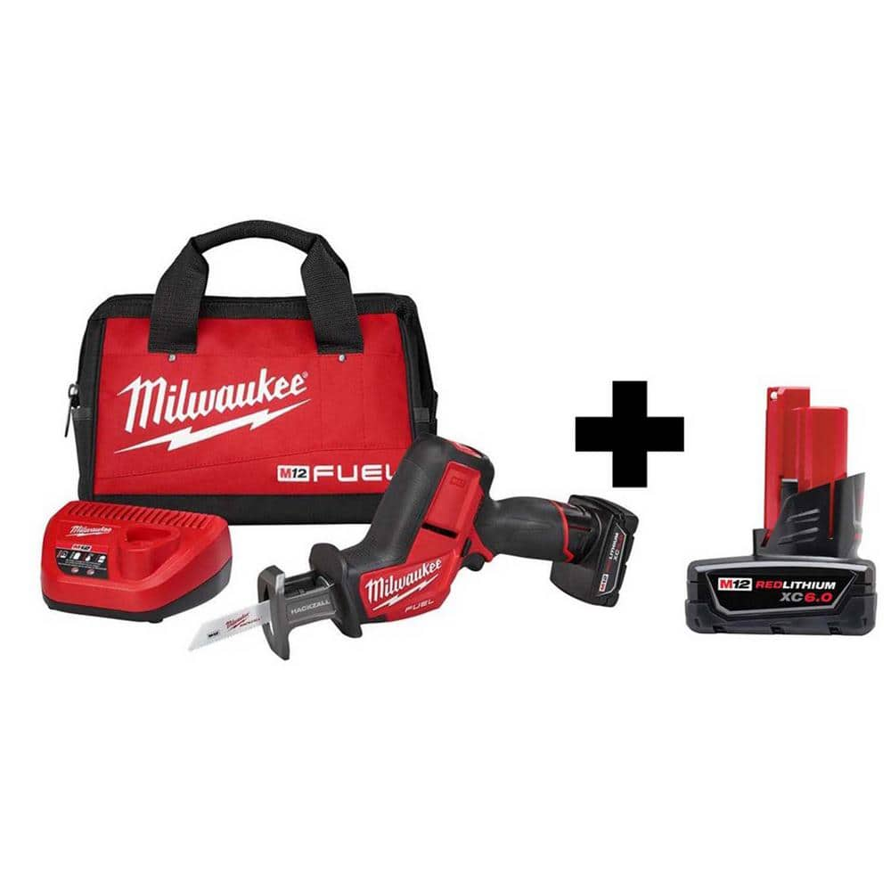 Milwaukee M12 FUEL 12-Volt Lithium-Ion Brushless Cordless HACKZALL Reciprocating Saw Kit W/ Free 6.0Ah Battery $179