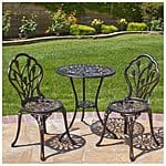 Outdoor Patio Furniture Tulip Design Cast Aluminum Bistro Set in Antique Copper $99.95 + free shipping @Rakuten