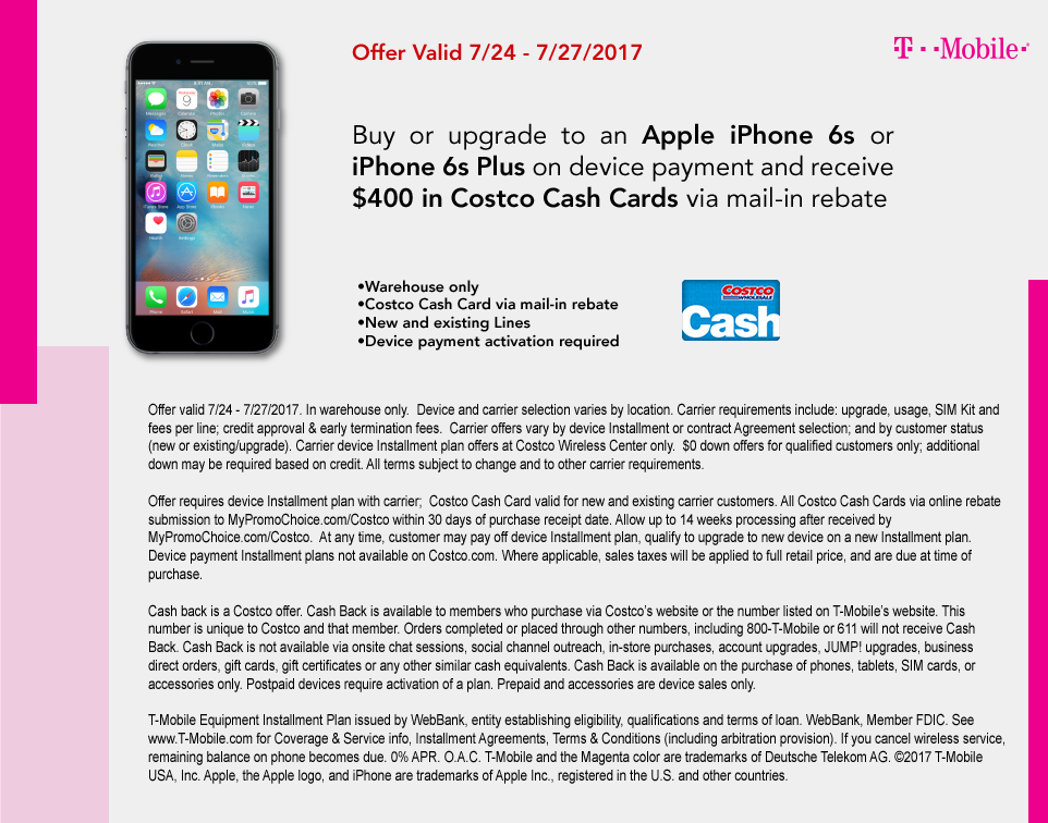 Costco Warehouse: Purchase/Activate iPhone 6s/6s Plus & Get $400 Costco Card & More (New/Existing Line; T-Mobile)