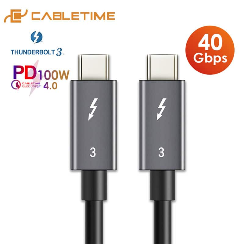 CABLETIM Thunderbolt 3 Cable USB 3.1 Type C to C USB Certified PD 100W 40Gbps Fast USB C Cable for Macbook Pro Quick Charge C024 $13.99