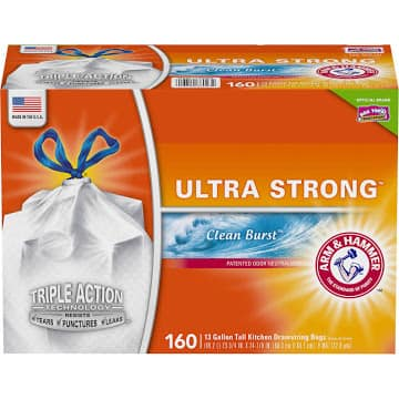Costco members: Hefty Ultra Strong Clean Burst 13 Gallon Tall Kitchen Drawstring Bags 160 Ct Box - $8.97 + Shipping