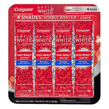 Costco members: Colgate Optic White High Impact White Toothpaste 4.5 oz, 4-pack - $9.99 + FS