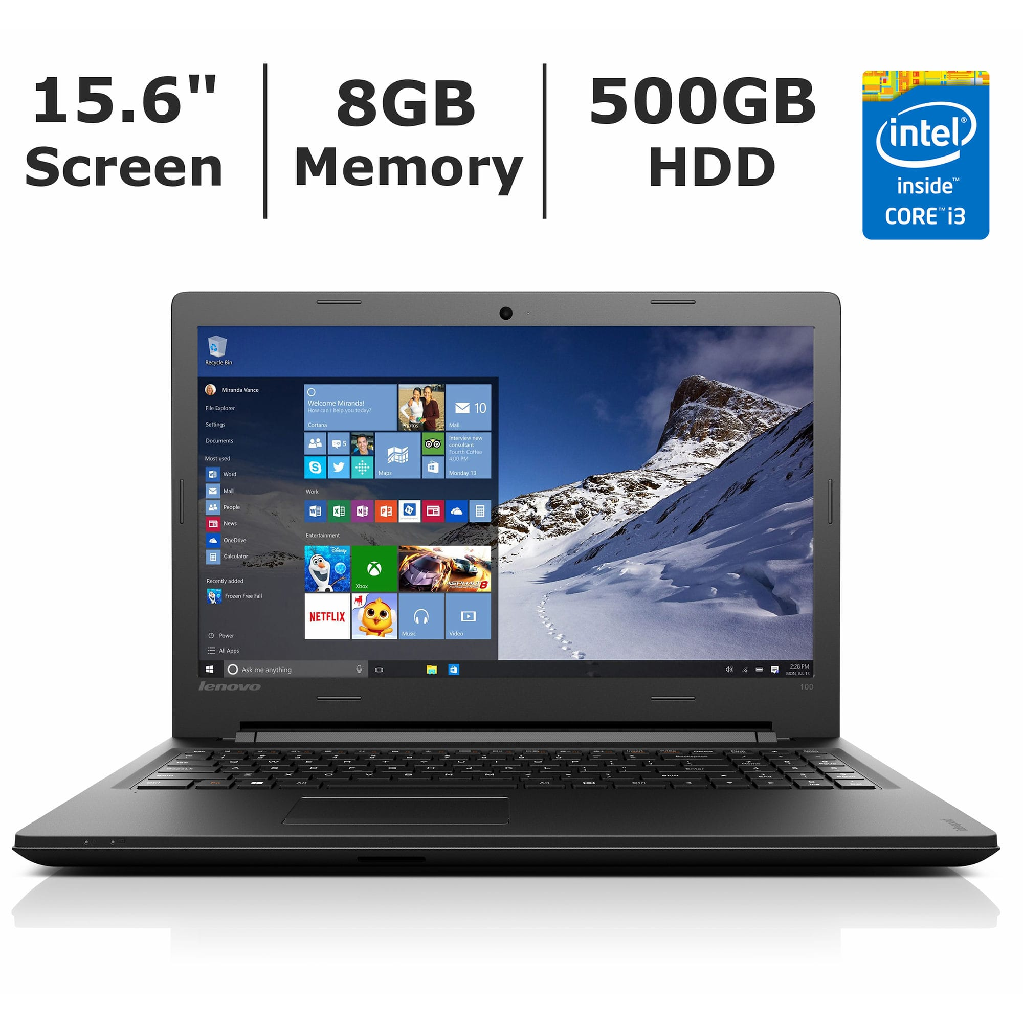 "Lenovo Ideapad 100 15.6"" 768P, Core i3-5020U, 8GB DDR3, 500GB HDD, DVDRW @ $300 with F/S at Bj's Wholesale"