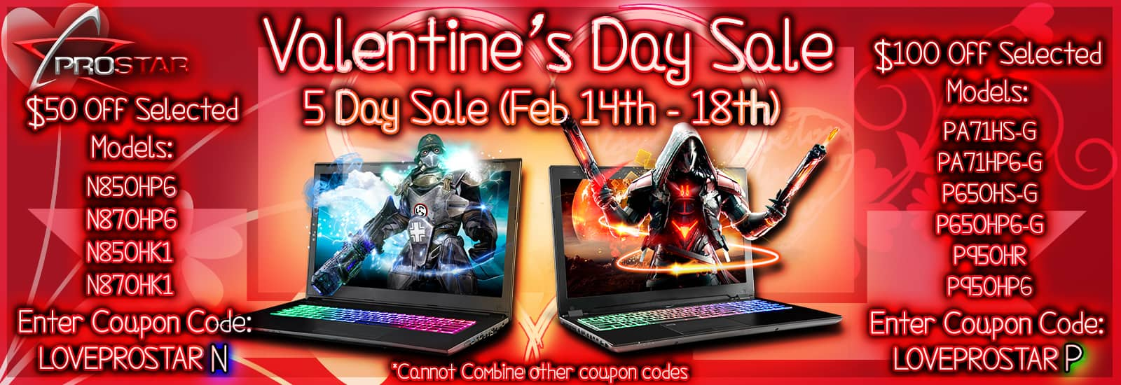 Pro-Star Valentine Day Sale: $50 OFF on  N Series, $100 off in P Series laptop. $1050