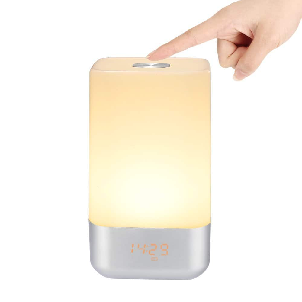 Tsumbay Wake Up Light Alarm Clock Bedside lamp with Touch Sensor, 5 nature Sounds, 3 Level brightness, USB rechargeable @ $27.99 + F/S $28