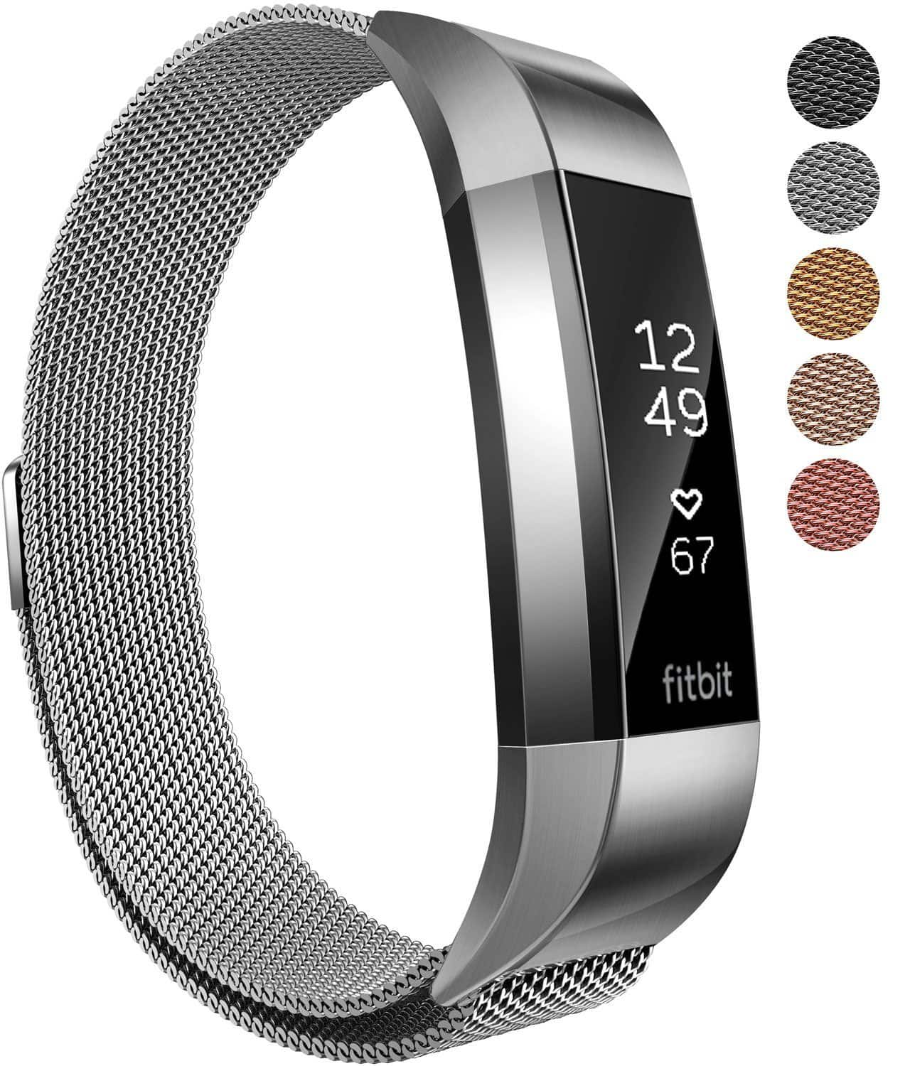XINKEJI Fitbit Alta  and Alta HR Milanese Mesh Magnetic Loop Wristband (Black, Silver and Gold) @ $5.99 + F/S with Prime
