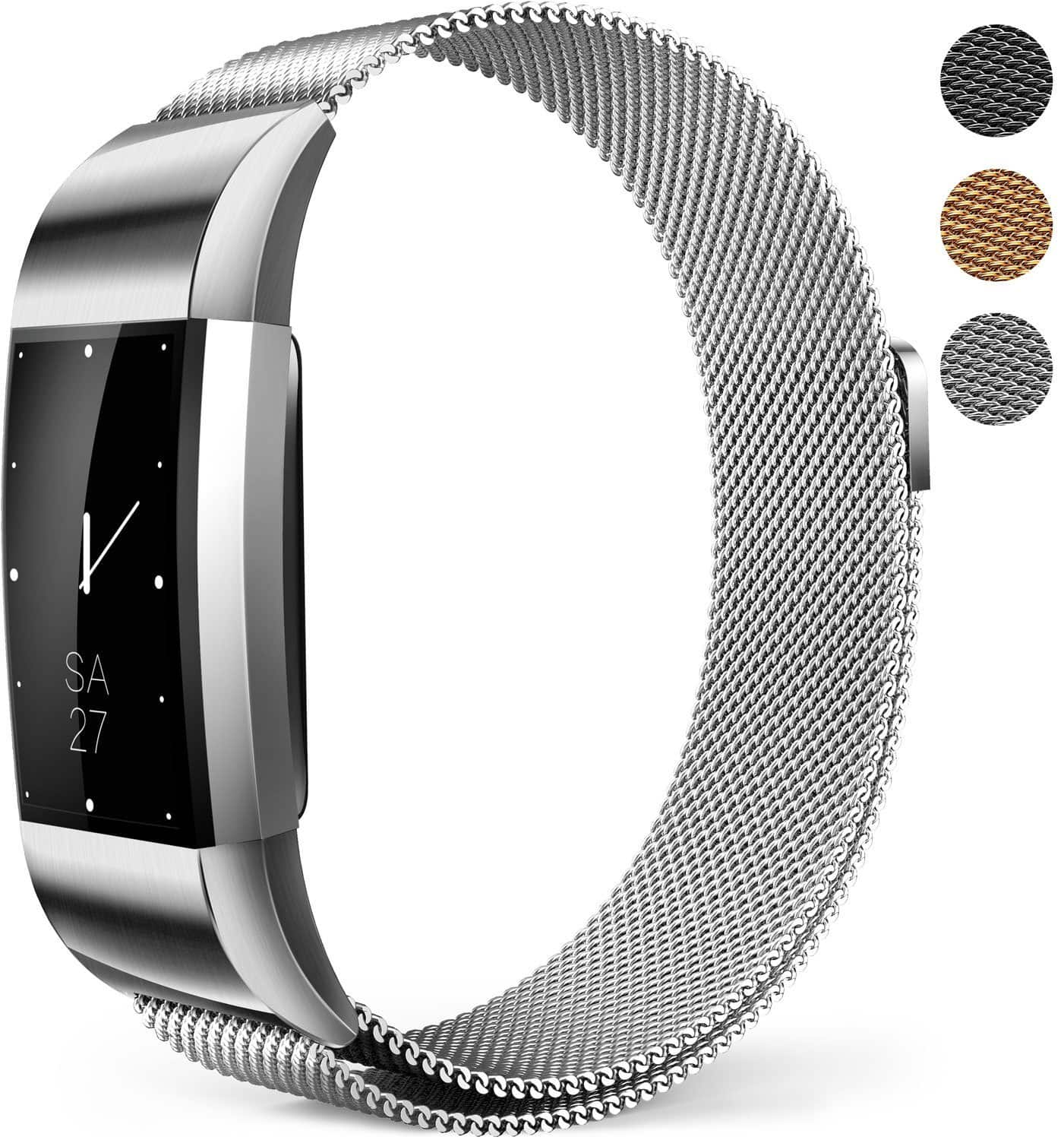 XINKEJI Fitbit Charge 2 Milanese Mesh Magnetic Loop Wristband (Black, Silver and Gold) from $5.99 + F/S with Prime