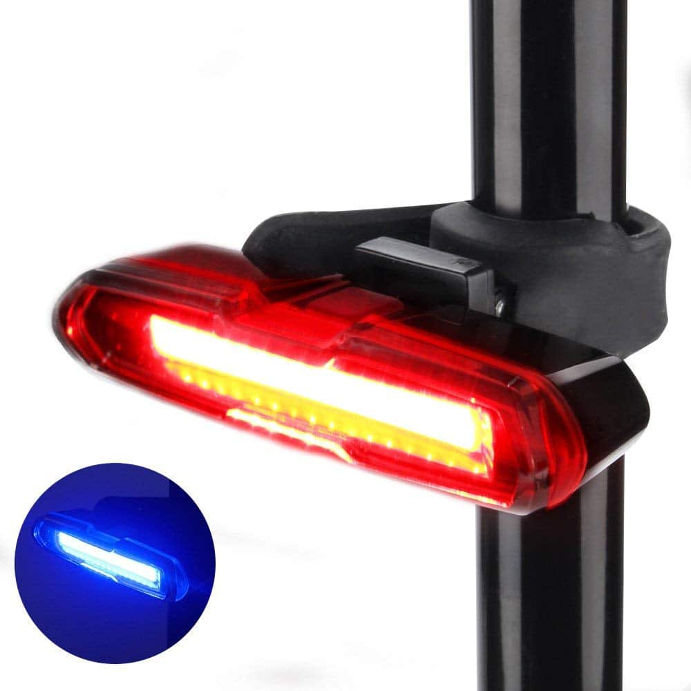 Thorfire Bike Red/Blue 5 Modes USB Rechargeable Light, Fits on Any Road Bikes, Helmets @ $10.39