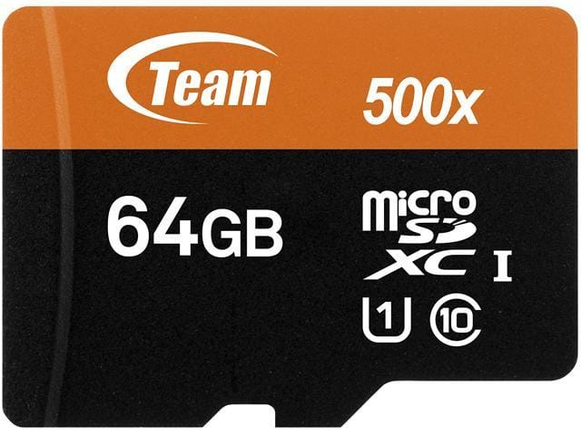 Team 64GB Micro SDXC UHS-I/U1 Class 10 (Up to 80 MB/S) Card with Adapter @ $6.99 + F/S