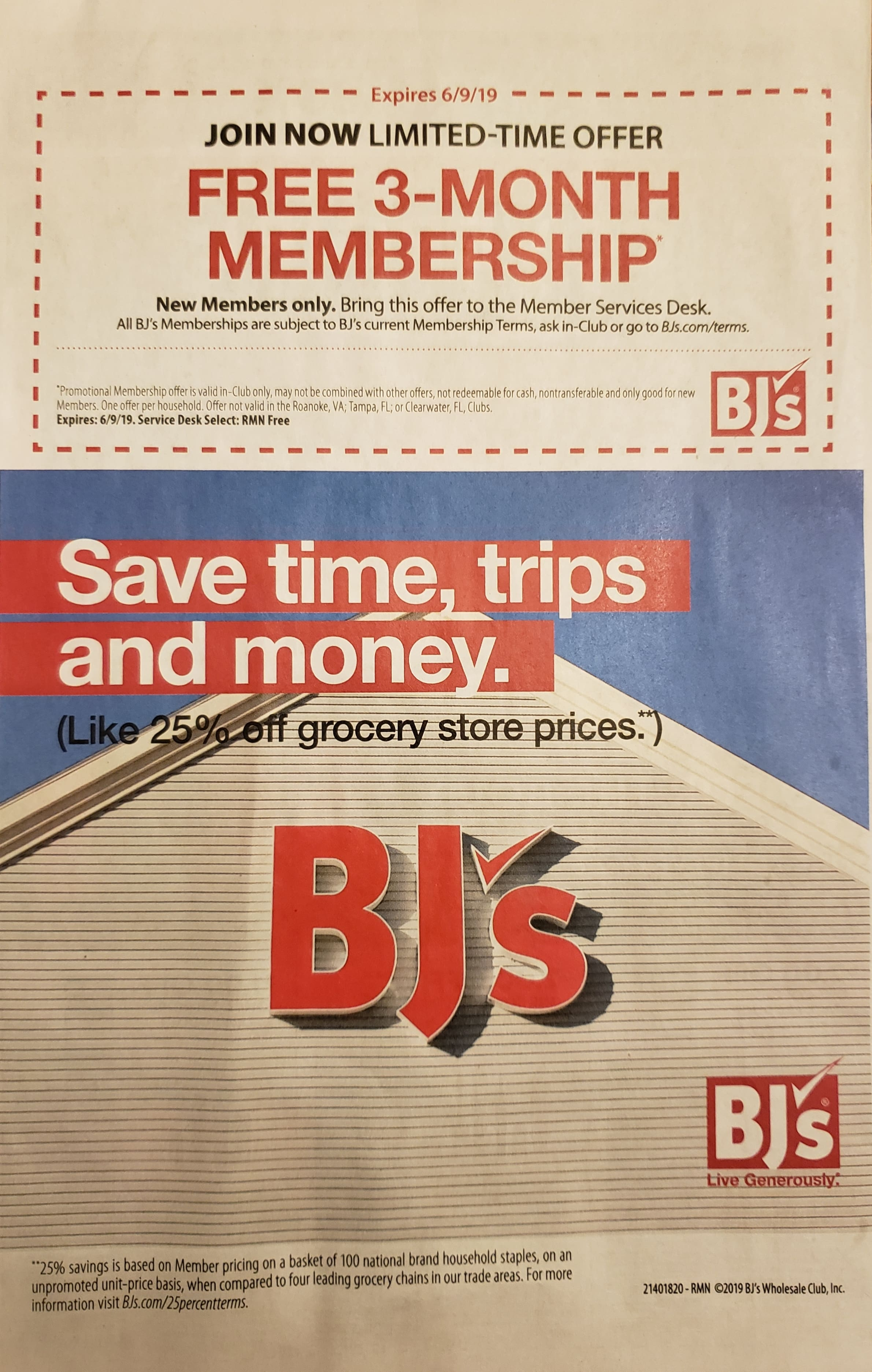 BJ's Wholesale Free 3 Month Membership (New Members only)