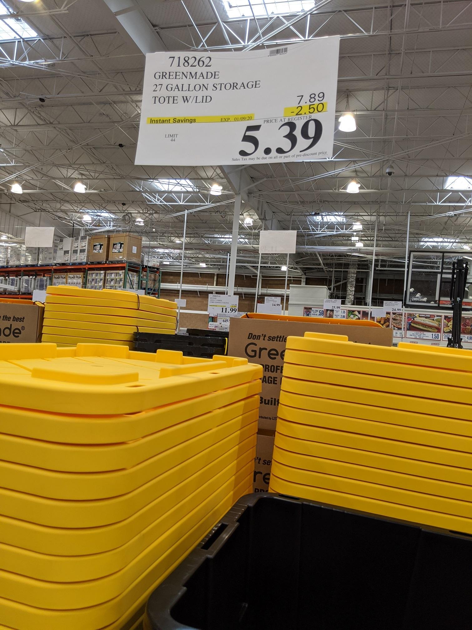 Greenmade 27 Gallon Storage Tote w/ Lid - $5.39 BnM Costco - YMMV based on location