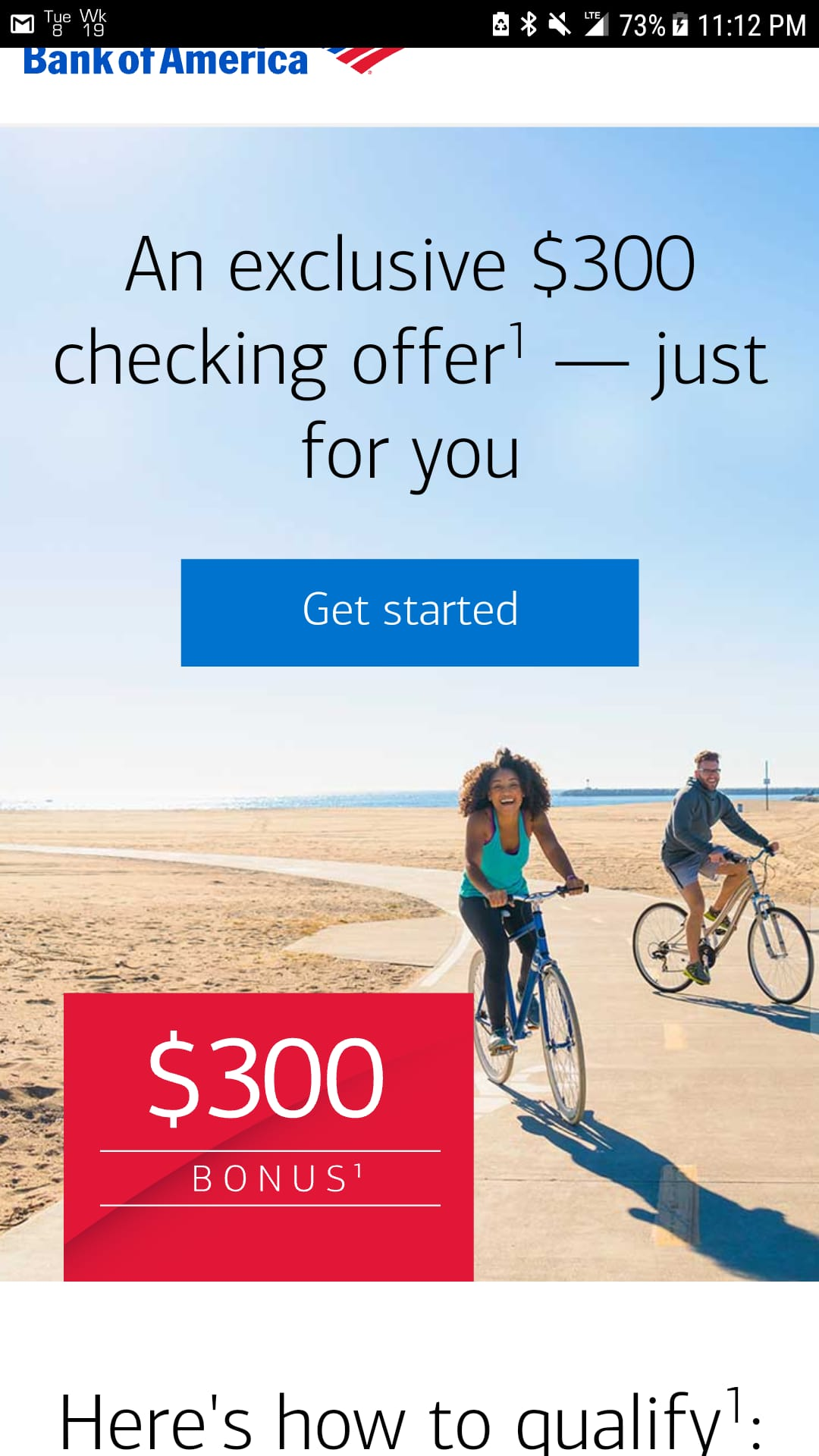Bank of America exclusive checking account bonus offer for select BoA customers ymmv $300