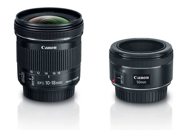 Canon Portrait & Travel 2 Lens Kit (EF 50mm f/1.8 STM & EF-S 10–18mm f/4.5–5.6 IS STM) $329