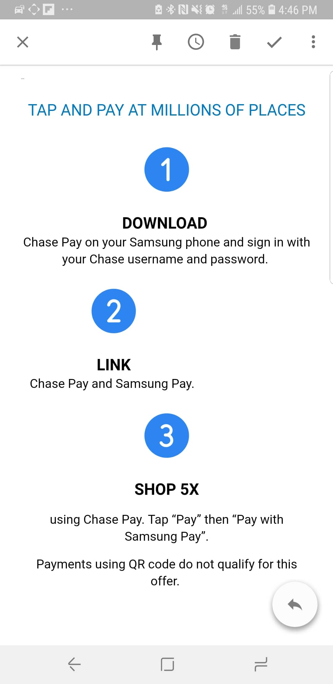 Get $25 by using chase card 5x times on Samsung Pay (ymmv