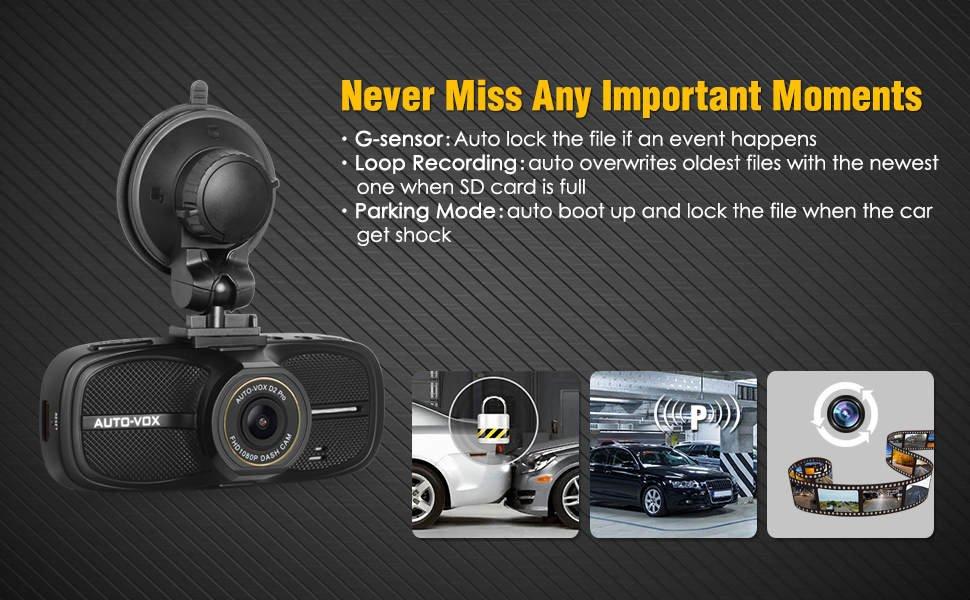 "AUTO-VOX D2 PRO 2.7"" LCD Upgraded 1080p Dash Cam $41.21 on Amazon"