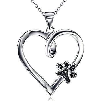 Sterling Silver Paw Print Heart Necklace for $10.99 AC on Amazon