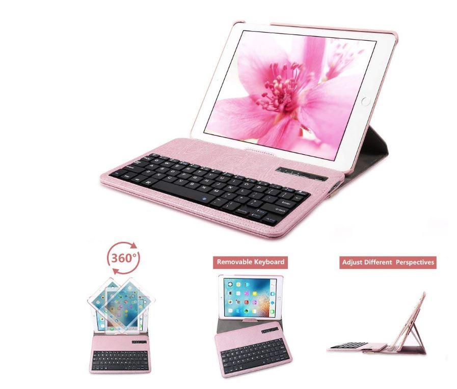 360° Rotating Detachable Wireless Bluetooth Keyboard Leather iPad Folio for $14.40 on Amazon