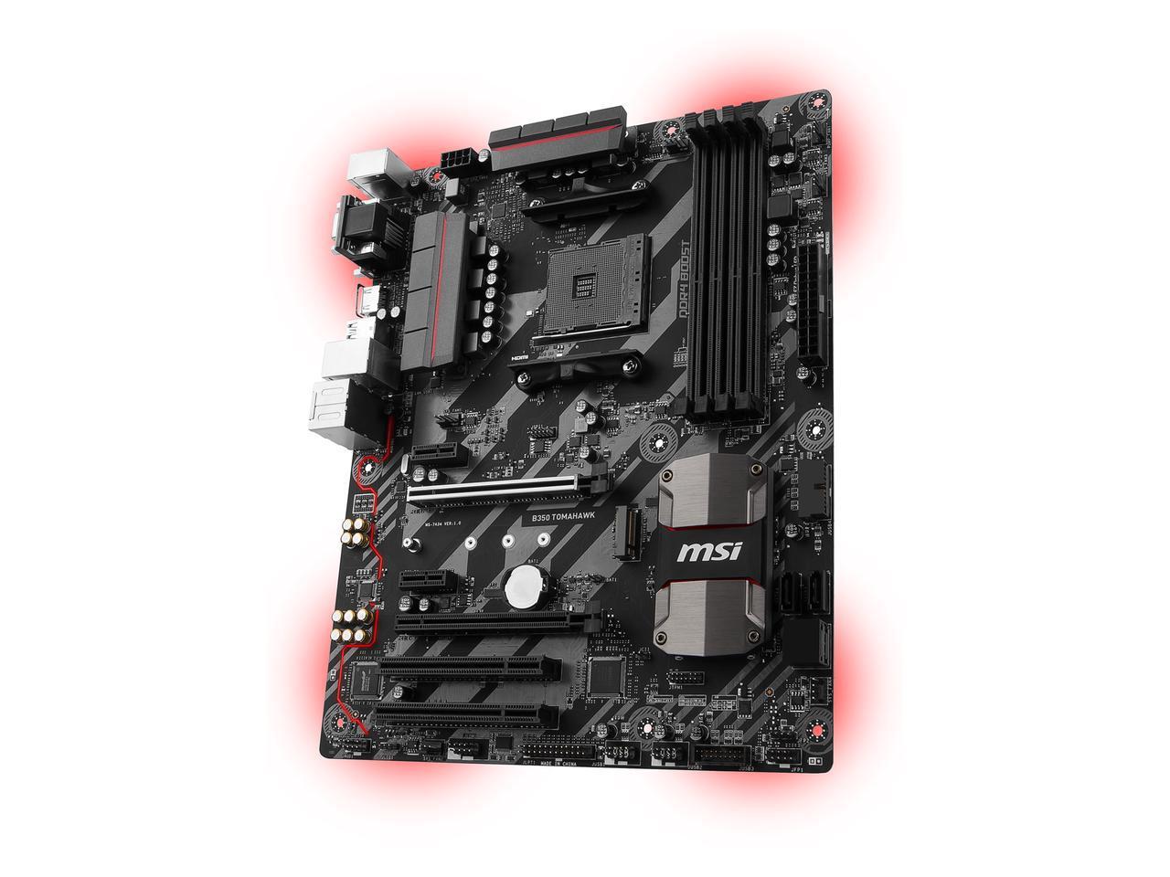 MSI B350 TOMAHAWK AM4 AMD ATX Motherboard + MSI Interceptor DS B1 Gaming Mouse $64.99 AR